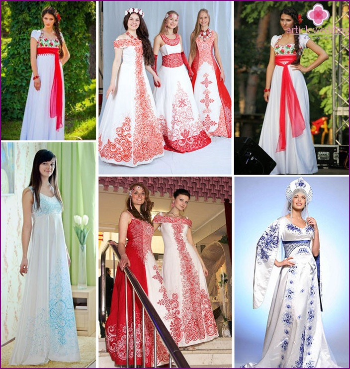 Slavic motifs for a-line wedding dress