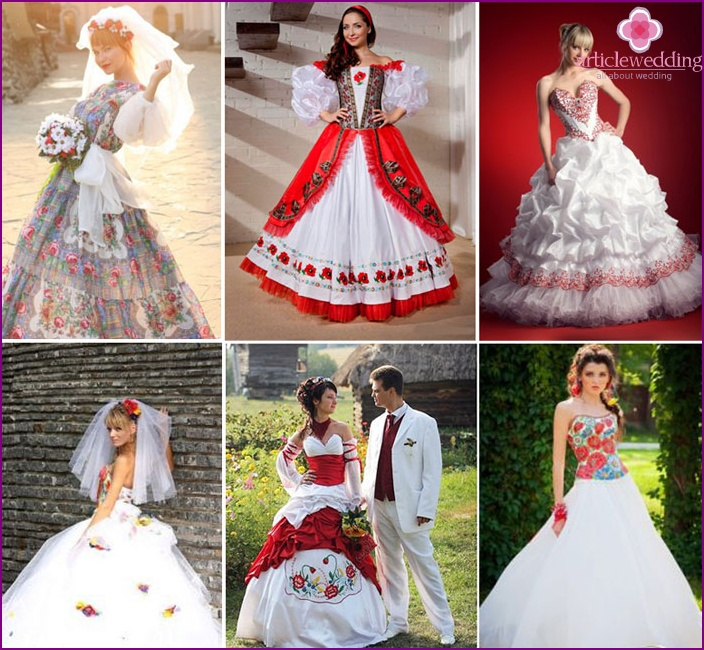 Russian style in a dress of the bride