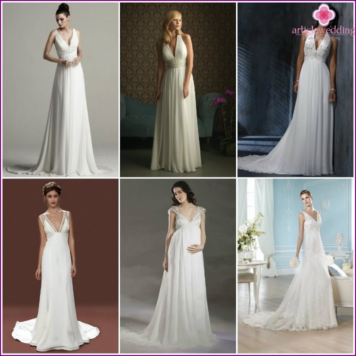 Greek style in low-cut wedding dresses