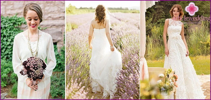 Fashionable dresses of the bride in the Provence style