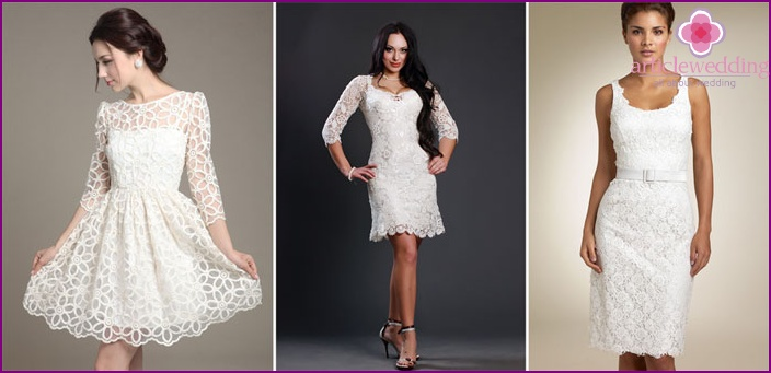 Lace in a vintage dress of the bride