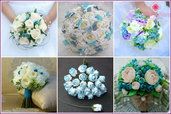 Turquoise wedding arrangement with roses