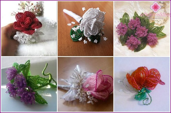Beads in the bride's wedding boutonniere