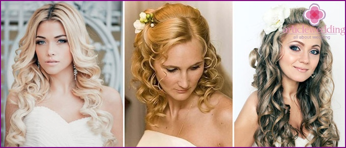 Romantic curls without a veil for a wedding