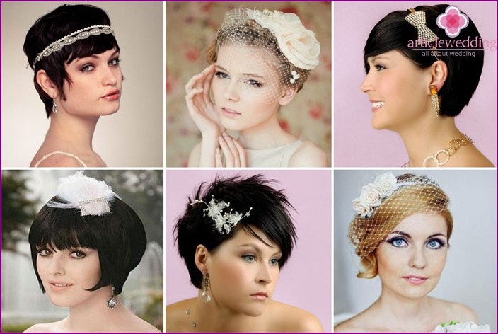Hairstyle for short hair in retro style