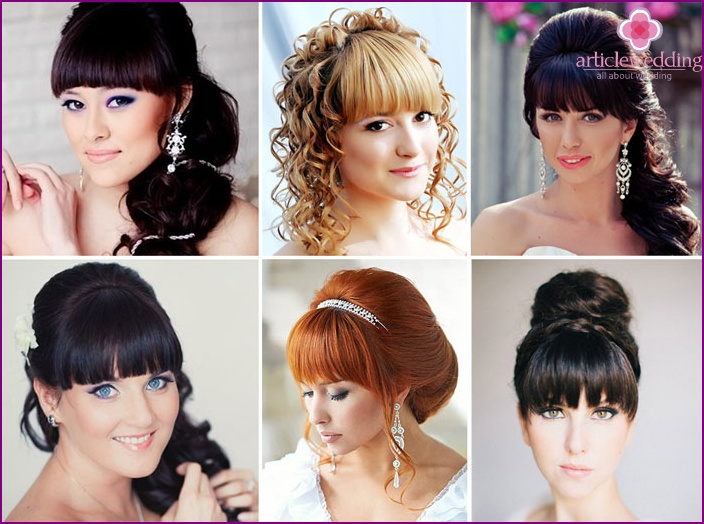 Bangs add tenderness to the wedding look