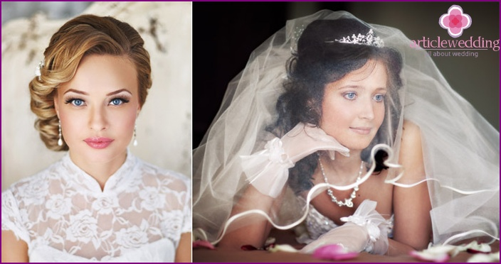 The hairstyle should be chosen considering the fabric of the wedding dress