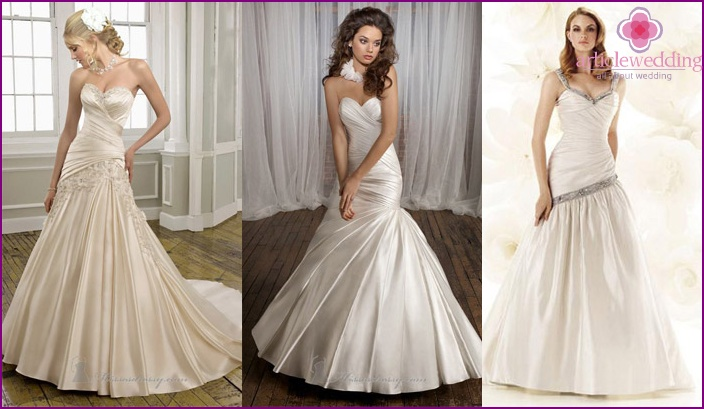 Hairstyle to a wedding dress of a silhouette a small fish