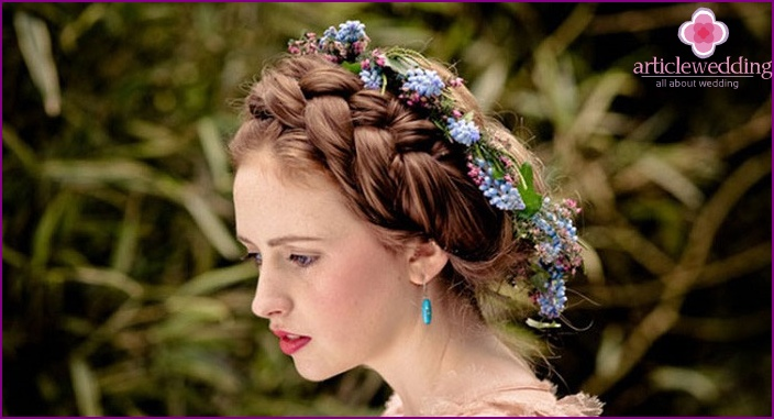 In the photo, the crown braid for any celebration