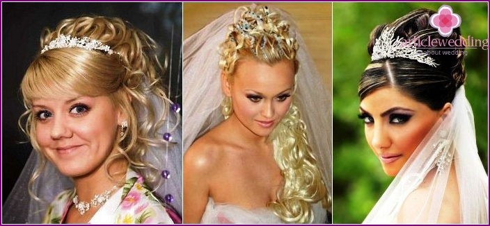 Wedding hairstyle of long haired brides: diadem and veil