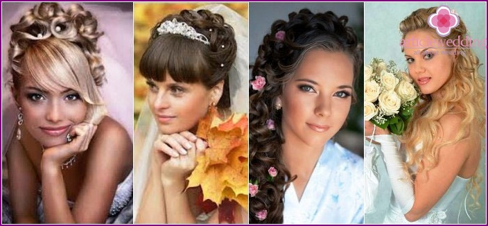 Laying long-haired bride: with bangs and without