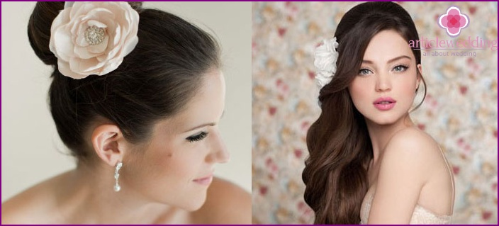 Full face hairstyle with flowers