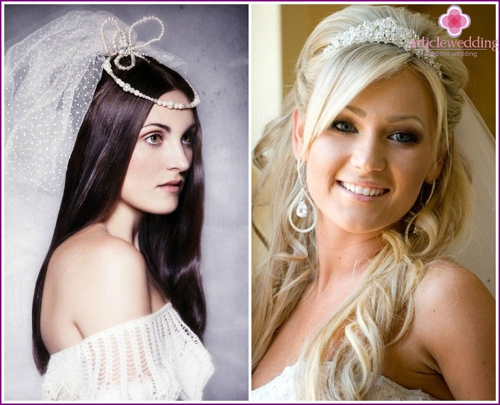 Malvinka - decoration of the bride's hairstyle with long hair