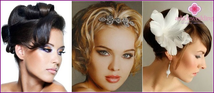 Different styling options for short-haired brides