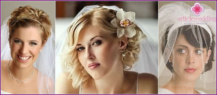 Veil is a great accessory for short-haired brides