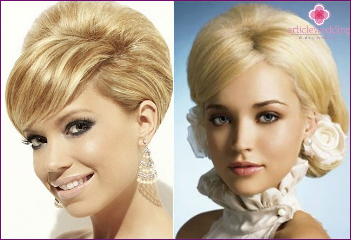 Short hairstyle for the wedding: bouffant