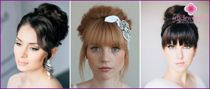 Wedding hairstyle - bun with bangs