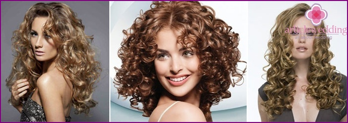 Simple hairstyle for bride's curly hair