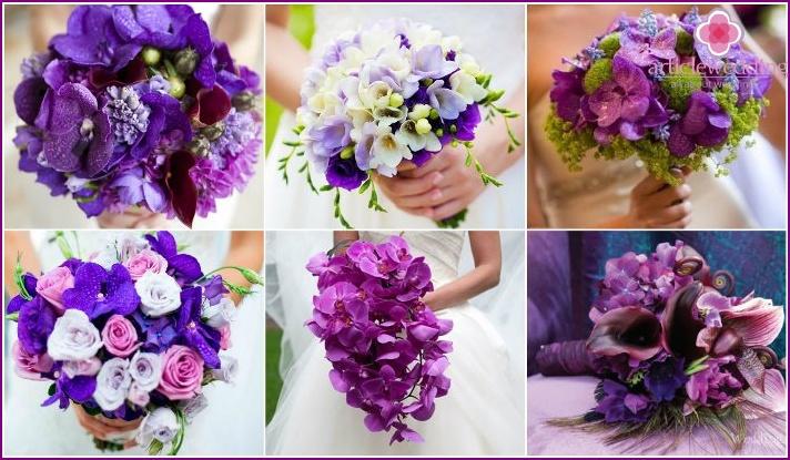 Violet orchids for the bride