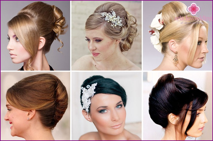 Elegant wedding shell with bangs