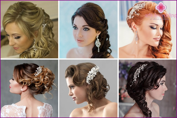 Curls of the bride decorated with a crest