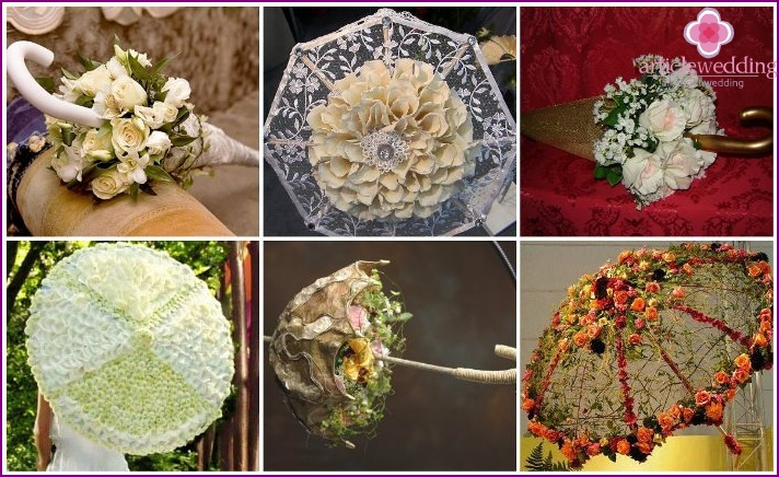 Designer floral umbrella for the bride