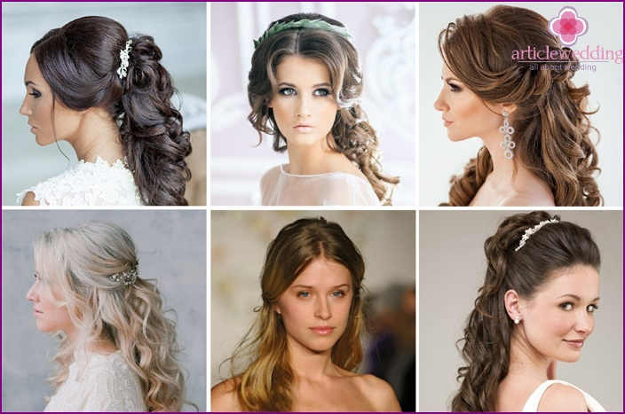 Curls of the bride secured by a comb