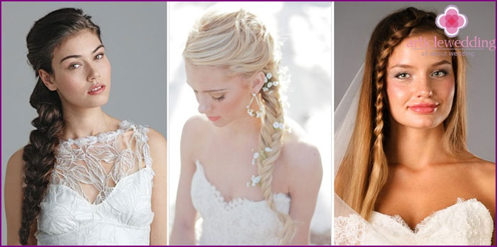 Hairstyles with weaving elements for a wedding