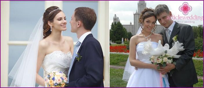 Wedding hairstyles: hoop and veil
