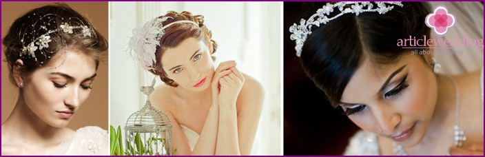 Wedding hairstyles for short hair with a hoop