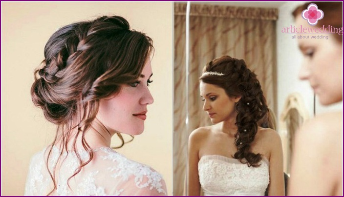Options for wedding hairstyles with diadem and braid