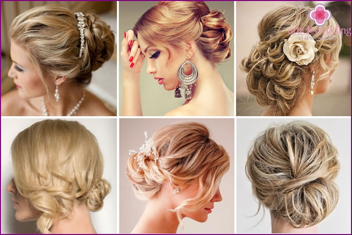 Hairstyle for a wedding bun with curls