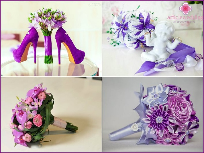 Photo of bouquets for the bride and groom in purple