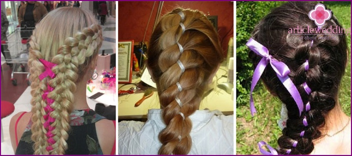 Options for weaving a French braid with a ribbon