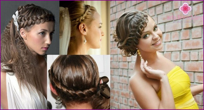 Photo: hairstyles with elements of Greek weaving