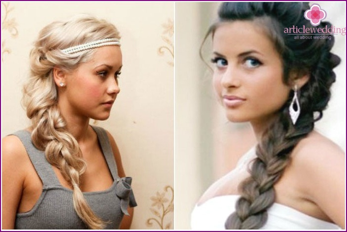 The image of the bride and groom: original braids and loose-falling strands