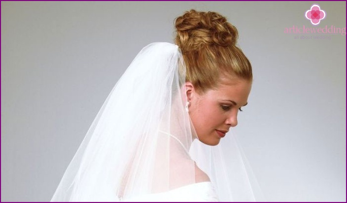 A combination of wedding styling bun and veils