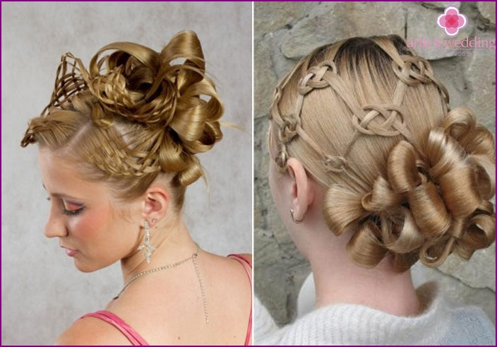 Original hairstyles of the bride with letters and weaving