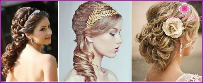 Greek hairstyle with loose strands for the bride