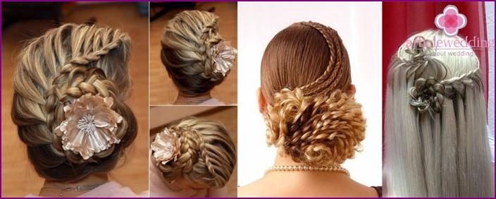 Wedding hairstyles: flower-shaped braids
