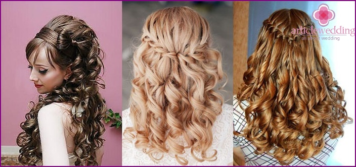Laying for the wedding: a combination of weaving and curls