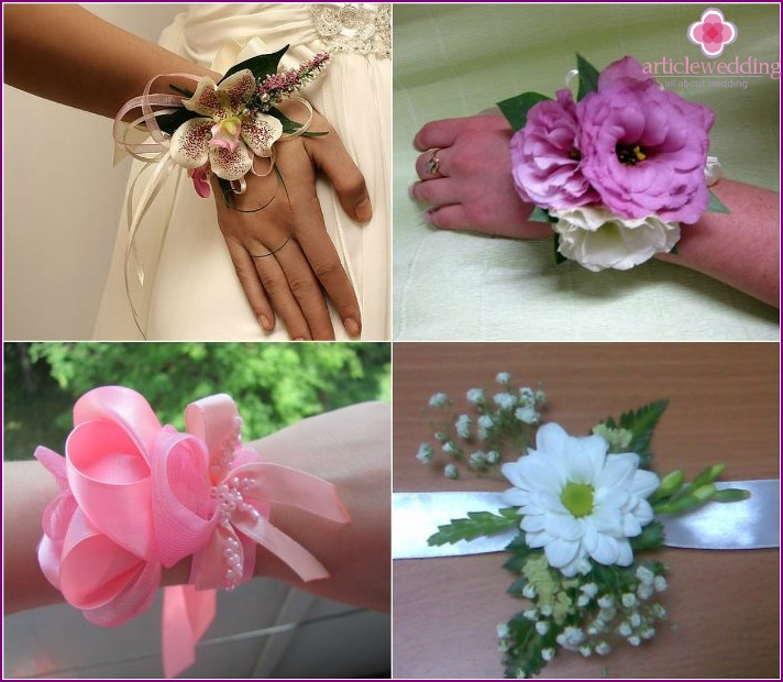 Wedding boutonniere on the wrist of the bride