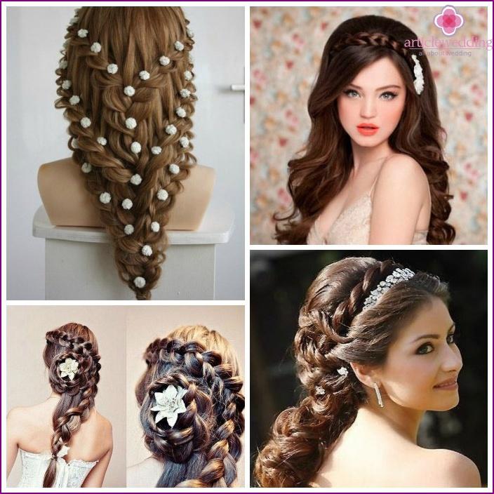 Variants of openwork braids for the bride