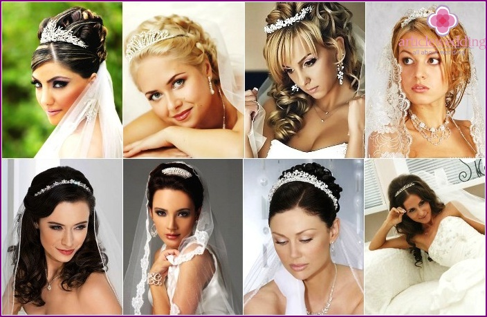 photo of wedding hairstyles with diadem and veil