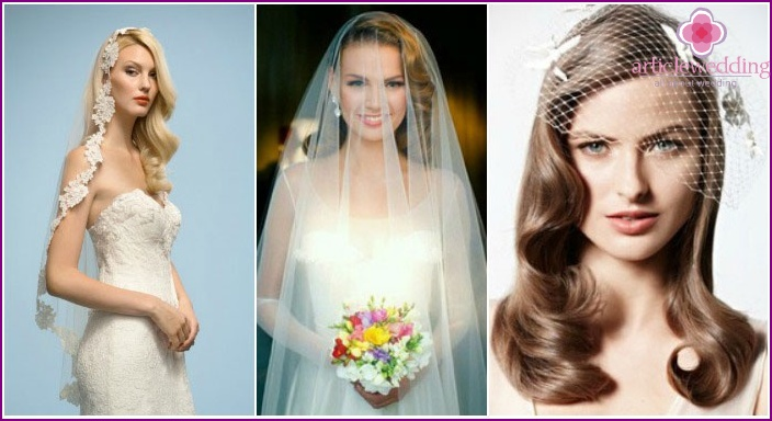 Hollywood curls, veil: wedding styling