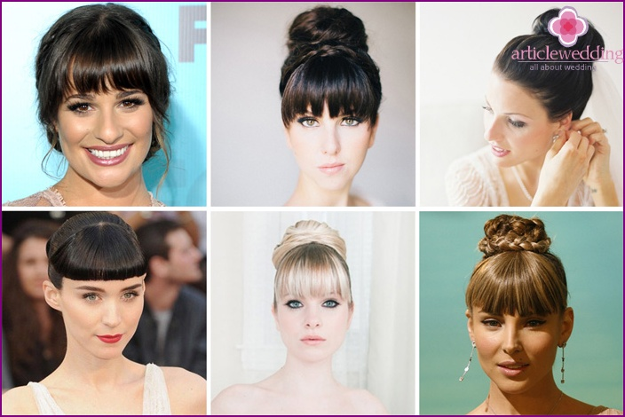 Wedding hairstyle with bun and straight bangs
