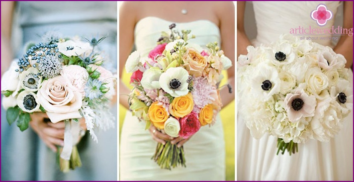 Bouquet for the young: anemones with roses