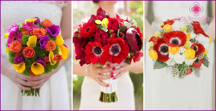Delicate wedding bouquets of different colors
