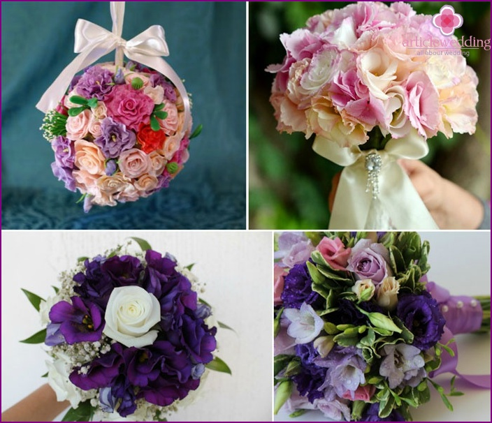 Beautiful bouquets of the bride from eustoma