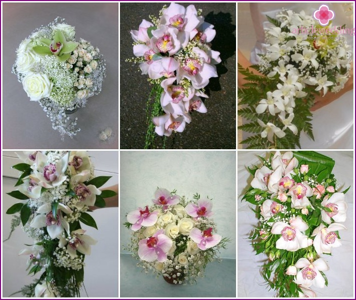 Orchids with baby's breath in a wedding accessory